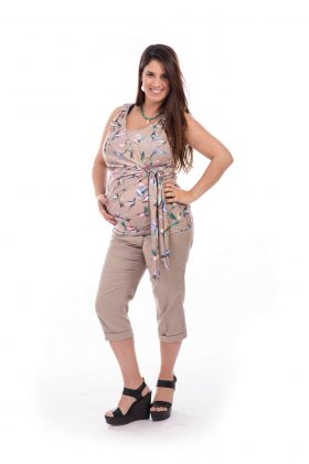 Maternity Blouse - Emma - Beige with Birds