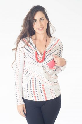 Breast Feeding Blouse – Dana – White with Dots
