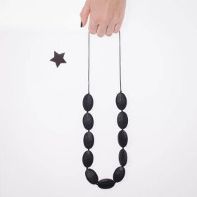 Stones Silicon Necklace - Black