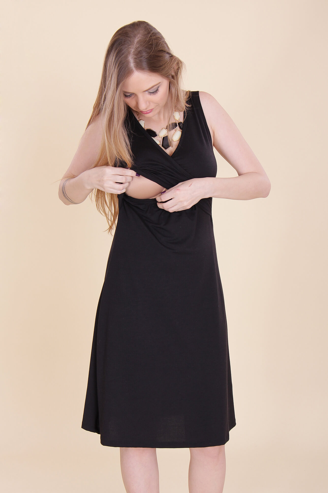 Breast Feeding Dress – Aya – Black