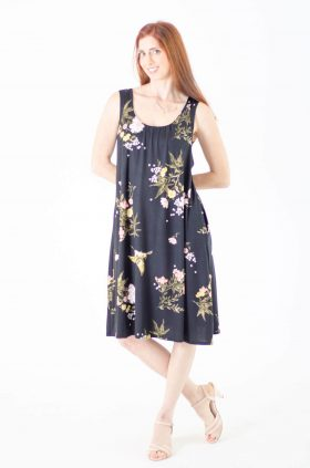 Breast Feeding Dress - Liby - Black Printed