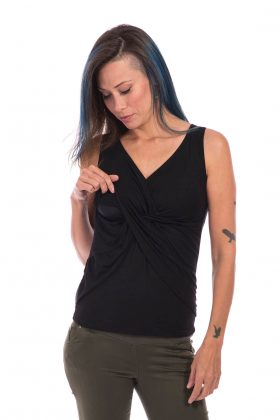 Maternity & Breastfeeding Top - Nitzan - Black