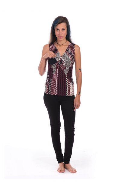 חולצת הנקה - ניצן בורדו סימטרי