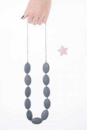 Stones Silicon Necklace - Gray