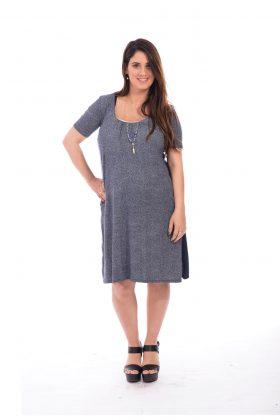 שמלת הריון והנקה – אילנה כחול לבן מודפס