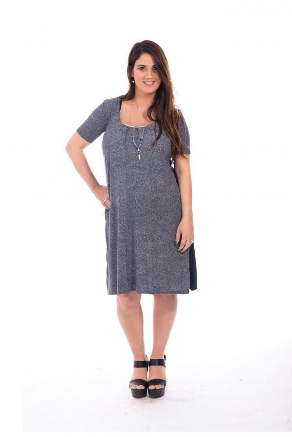 שמלת הריון - אילנה כחול-לבן מודפס