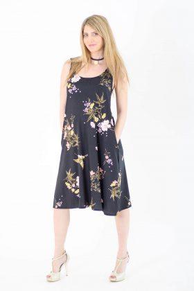 שמלת הריון - ליבי שחור מודפס