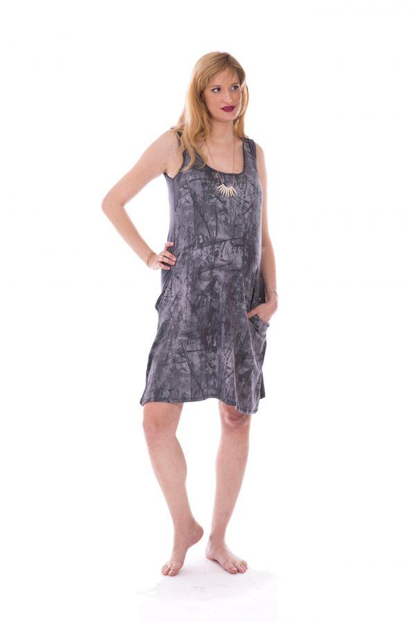 שמלת הריון - ליבי אפור מודפס