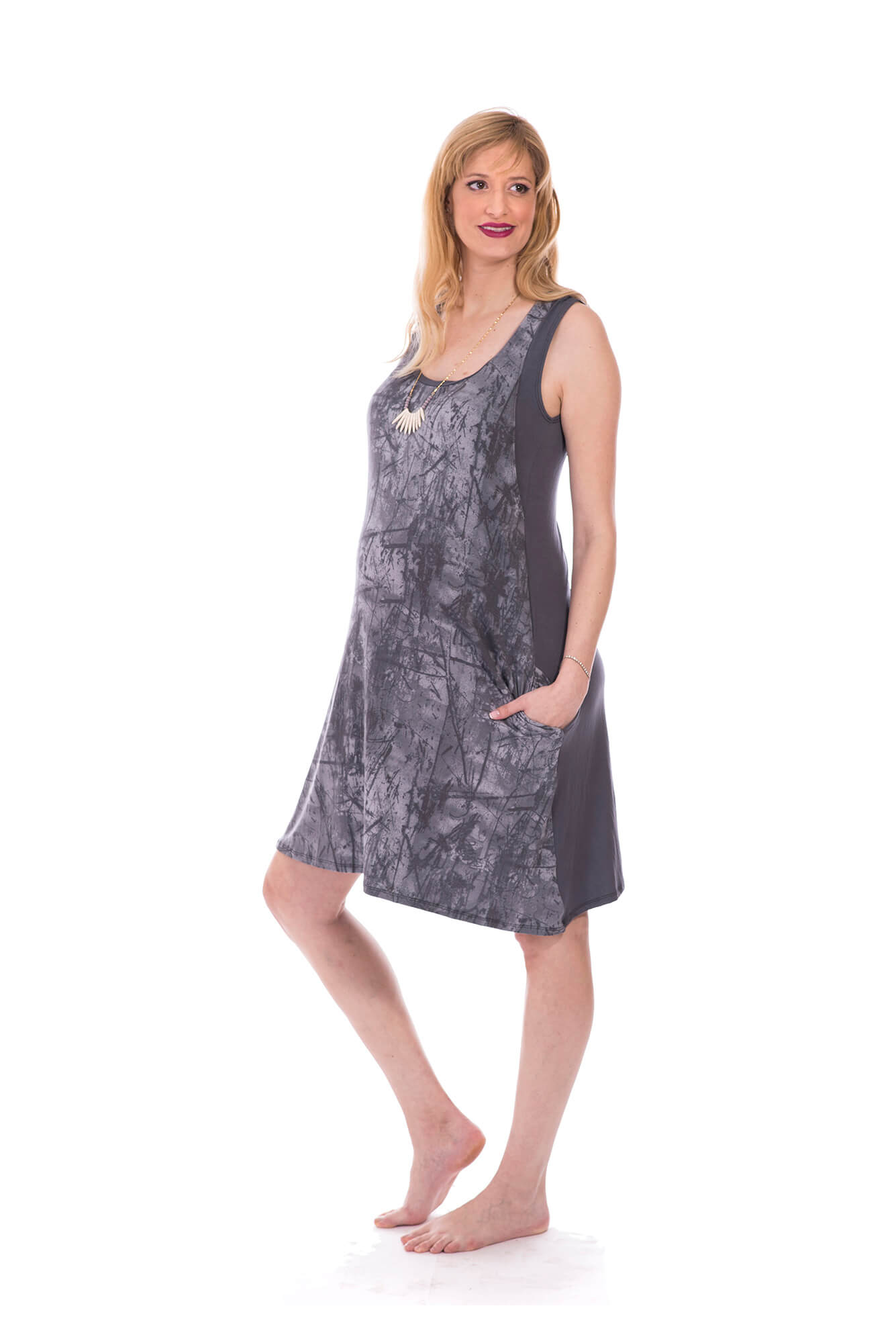 Maternity Dress – Liby – Gray Printed