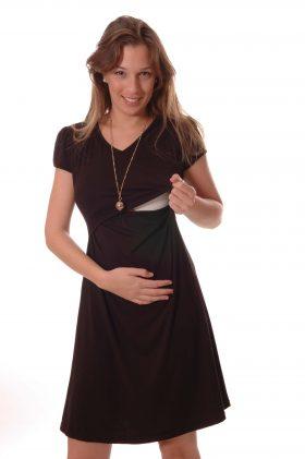 שמלת הנקה - מאיה בצבע שחור שרוול קצר