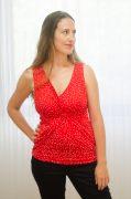 חולצת הנקה - ניצן אדום עם נקודות לבנות