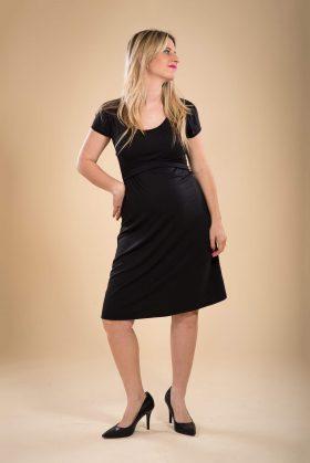 שמלת הריון - מאיה בצבע שחור שרוול קצר