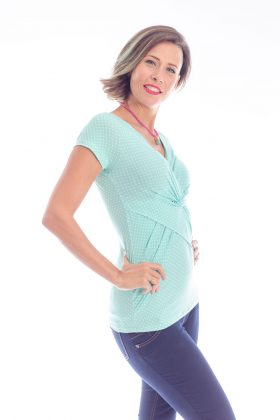 Breast Feeding Blouse – Dana – Turquoise with Dots