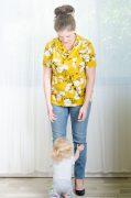 חולצת הנקה - גילת בצבע חרדל מודפס