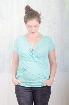 Maternity Blouse - Dana - Turquoise with Dots