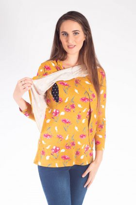 Breast Feeding Blouse – Gilat – Yellow Mustard Printed