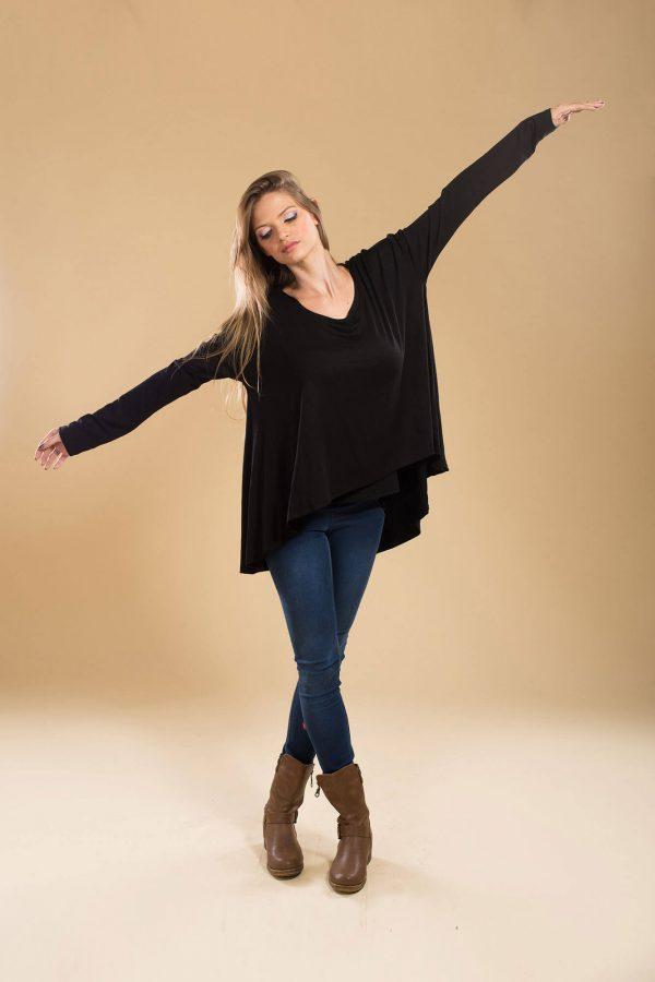 חולצת הנקה חגית בצבע שחור