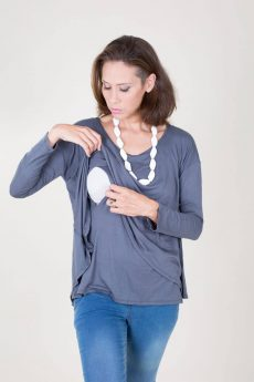 Breast Feeding Blouse - Hagit - Gray