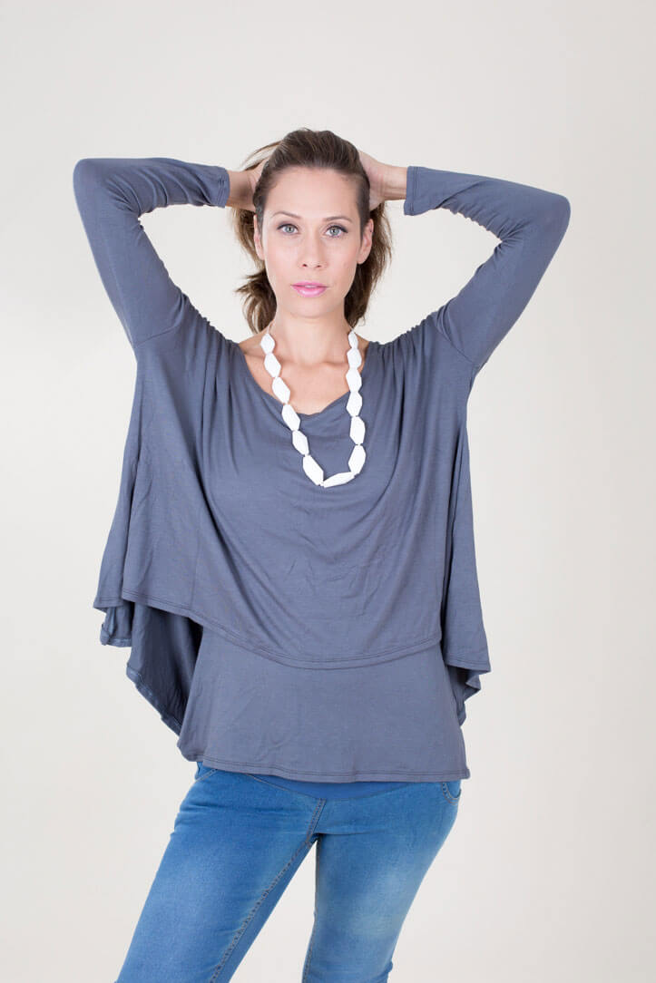 Breast Feeding Blouse – Hagit – Gray