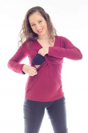 חולצת הנקה דנה בצבע בורדו