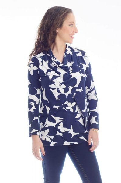 חולצת הנקה גילת בצבע כחול לבן