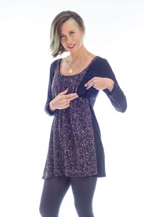 Breast Feeding Tunic - Lena - Black Printed