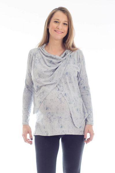 טוניקה להריון גל בצבע אפור מודפס