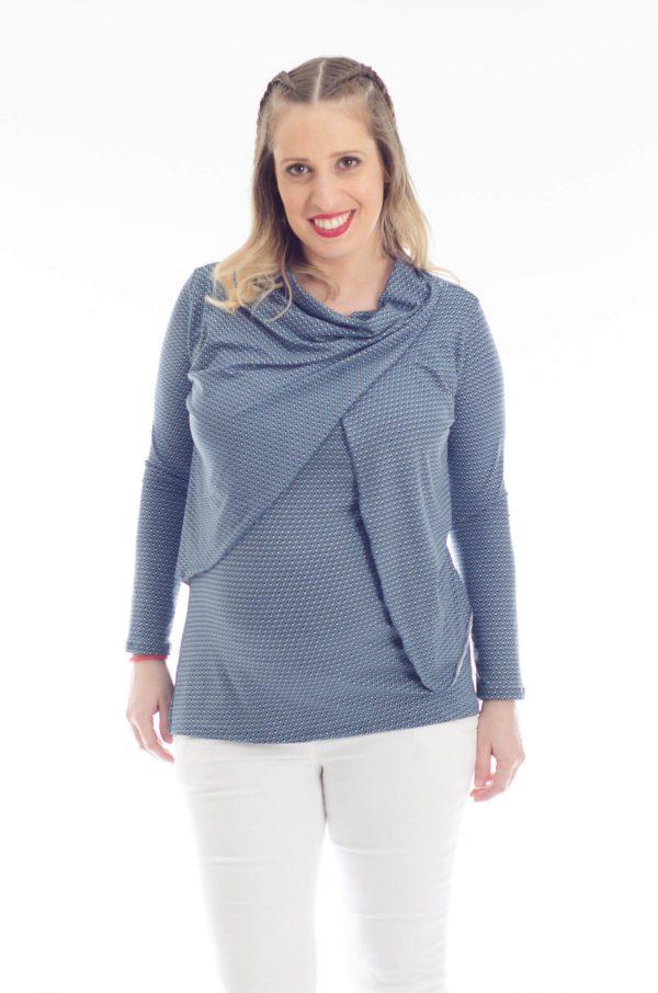 חולצת הריון גילת בצבע כחול מודפס