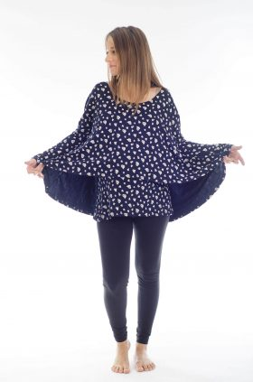 Pregnancy Blouse - Hagit - Blue with Hearts