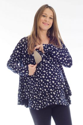 Pregnancy Blouse – Hagit – Blue with Hearts