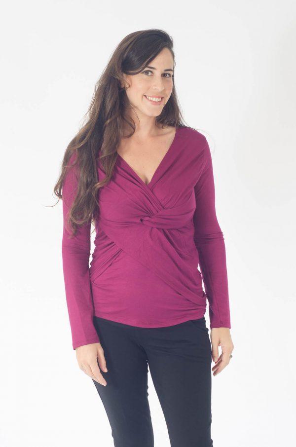 חולצת הנקה - דנה בצבע דובדבן