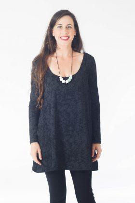 Breast Feeding Tunic – Lena – Black Printed
