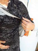 טוניקה להנקה גל בצבע שחור-לבן מודפס