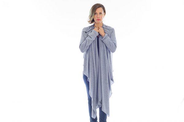 קרדיגן (שכמיית מנשא) יערה בצבע כחול ג'ינס
