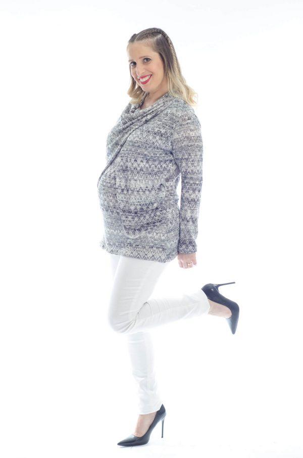 סריג להריון גל בצבע אפור מודפס