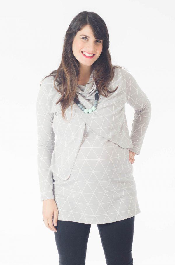 טוניקה להריון והנקה גל בצבע אפור לבן מודפס