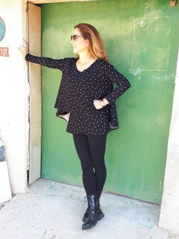 Pregnancy Blouse - Hagit - Black with Stars