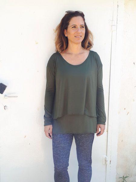 חולצת הריון חגית בצבע ירוק זית