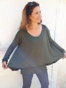 חולצת הנקה חגית בצבע ירוק זית
