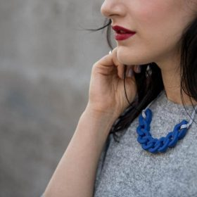 Link Silicon Necklace - Blue