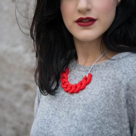 Link Silicon Necklace - Red