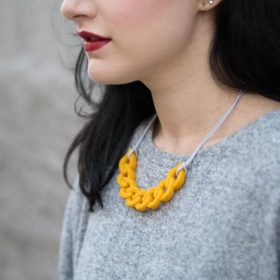 Link Silicon Necklace - Yellow