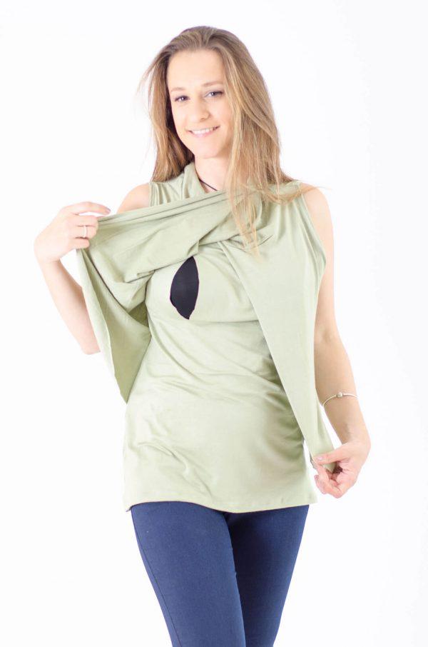גופיית הנקה ענבר בצבע ירוק