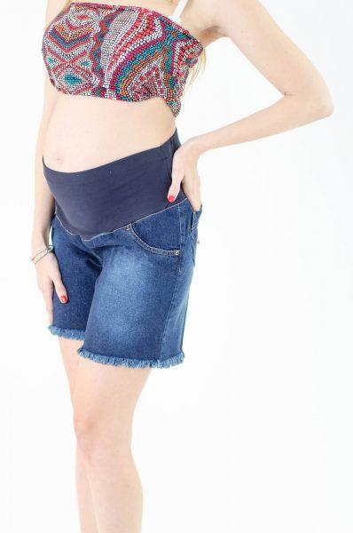 מכנס ג'ינס קצר להריון - כחול כהה