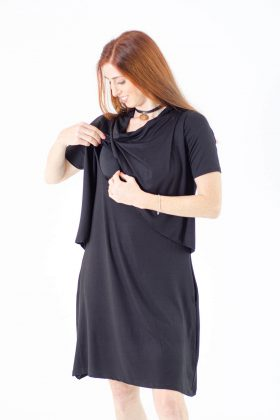 Breast Feeding Dress – Efrat – Black