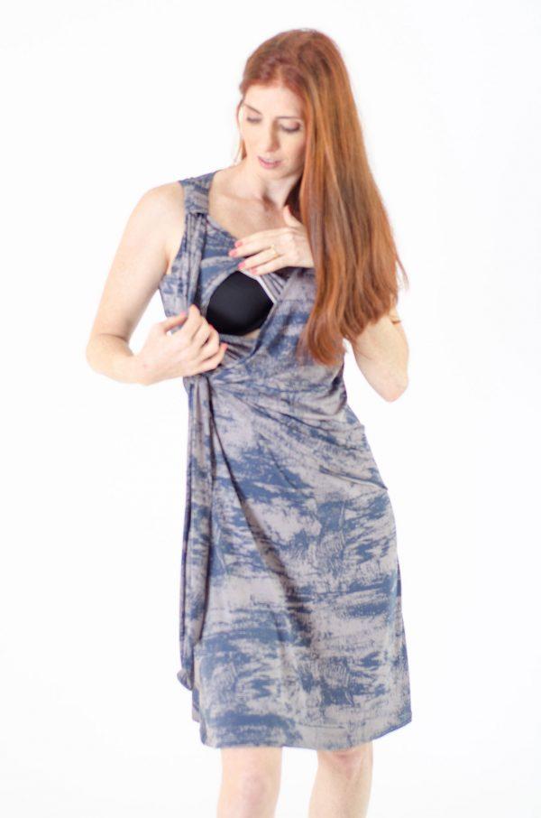 שמלת הנקה - סוניה כחול אפור