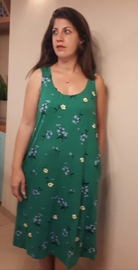 Breast Feeding Dress - Liby - Green with Flowers