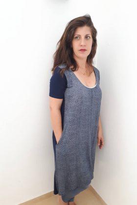 Breast Feeding Short Sleeves Tunic - Lena - Blue Printed