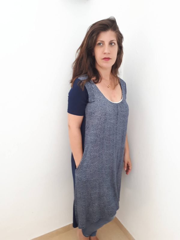 טוניקה להנקה שרוול קצר - לנה כחול מודפס