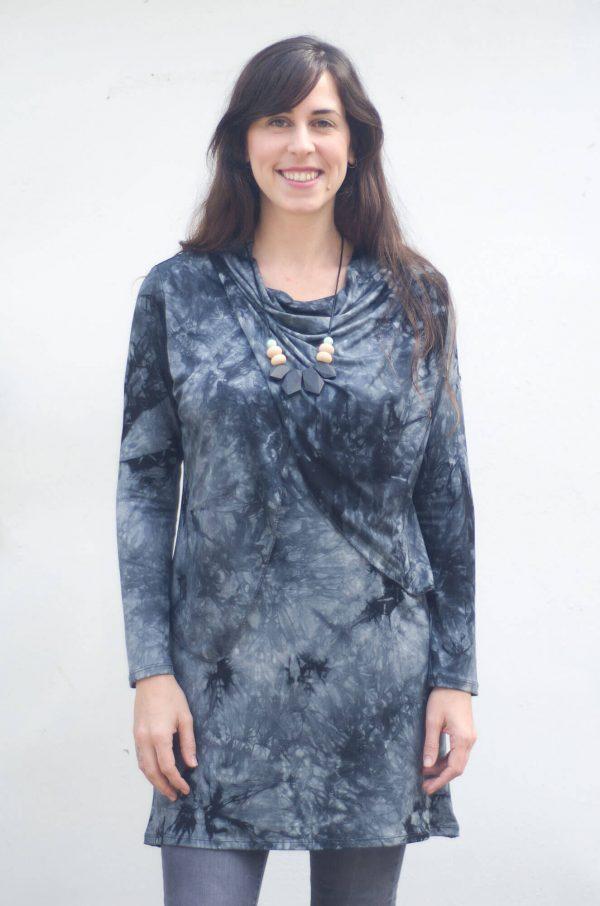 טוניקה להנקה גל בצבע אפור כהה מודפס